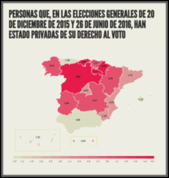 Gráfico. Personas que, en las elecciones generales de 20 de diciembre de 2015 y 26 de junio de 2016, han estado privadas de su derecho al voto en España